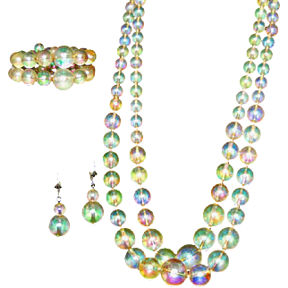 Lucite 'Bubble' Vintage Necklace, Bracelet, Earrings Set, Parure