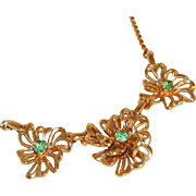 Exquisite Retro Modern Peridot Rhinestone Necklace Signed LUSTERN
