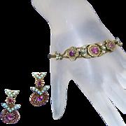 Turquoise & Amethyst Purple Vintage Bracelet & Earring Set
