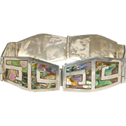 Mexican Signed Vintage Sterling & Inlaid Abalone Bracelet, Signed MR