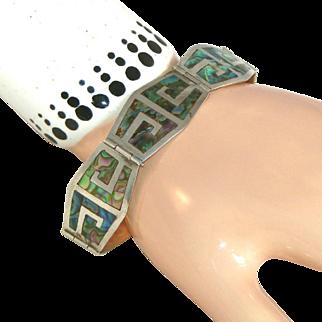 Mexican Signed Vintage Sterling & Inlaid Abalone Bracelet, Signed MR