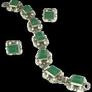 Sterling Silver Chrysoprase Vintage Bracelet, Earring, Signed Vintage Mexican Set