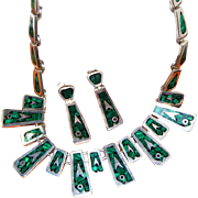 Heavy Taxco Sterling Silver & Malachite Vintage Mexican Signed Necklace, Earring Set, Almost 4 Oz