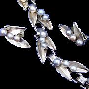 Ming'sof Hawaii Sterling Silver & Pearl Vintage Bracelet & Clip Earring Set