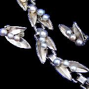 Ming's of Hawaii Sterling Silver & Pearl Vintage Bracelet & Clip Earring Set