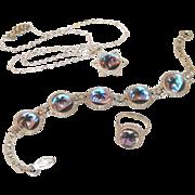Morpho Butterfly Wing Vintage Bracelet, Ring, Pendant Set