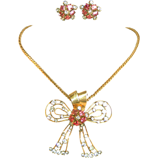 Hot Pink Square Stones in Vintage Retro Modern M&S Gold Filled Necklace, Earring Set