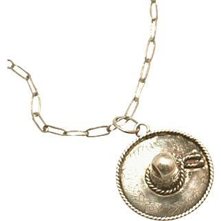 Very Old Mexican Sombrero Hat Sterling Silver Signed Pendant White Gold Paper Clip Chain, Signed EVS