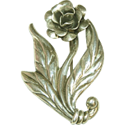 Sterling Silver Vintage Open Rose Pin