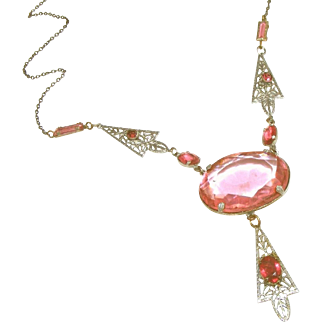 Pink Glass & Filigree Art Deco Lavaliere Vintage Necklace