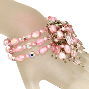 All Glass Vintage Wide Pink Wrap Bracelet with Dangles