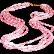 Spectacular 5 Strand Pink Tubular Satin Glass Vintage 25 Inch Necklace