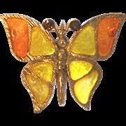 Sunburst Colors Plique a Jour Vintage Butterfly Pin
