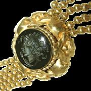Antique Intaglio Warrior Goddess Athena Cameo Pinchbeck Beaded Chain Victorian Czech Bracelet