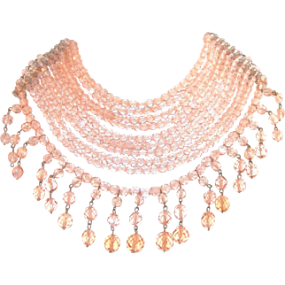 Couture Extra Wide Ten Row Bib Pink Glass Crystals Vintage Necklace, Attributed Coppolla E Toppo