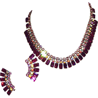 Stunning Deep Amethyst Purple, Aurora Borealis & Lilac Unsigned Weiss Necklace, Earring Set, c.1950
