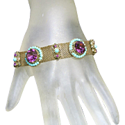 Fascinating Turquoise & Deep Purple Color Combination in Czech Mesh Bracelet