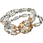 Rock Candy 3 Three Strand Vintage Glass Bracelet, Fancy Bead Wired Clasp, c.1950