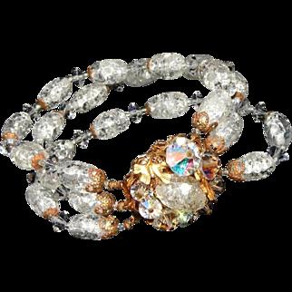 Rock Candy 3 Three Strand Vintage Glass Bracelet, Fancy Bead Wired Clasp, c.1950