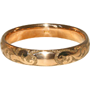 "Rose Gold Filled Antique Victorian Bates & Bacon ½"" Wide Hinged Bangle"