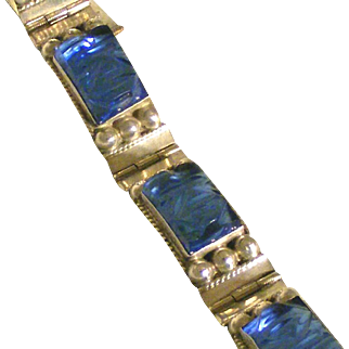 Sterling Silver Blue Mirror Glass Carved Faces Vintage Mexican Bracelet