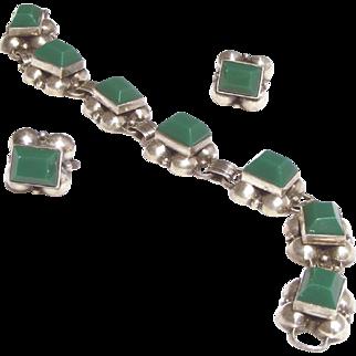 Sterling Silver Chrysoprase Vintage Bracelet, Earring Signed Vintage Mexican Set
