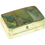 Sterling Silver Inlaid Abalone Signed Mexican Vintage Pill Box