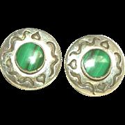 Sterling Silver & Malachite Vintage Post Earrings