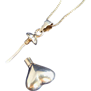 "Sterling Silver Vintage Heart Shaped Perfume Pendant & 26"" Chain"