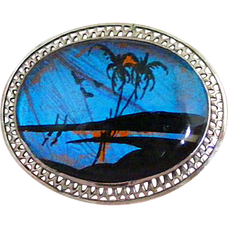 Sterling Silver Filigree Frame Vintage Scenic Butterfly Wing Pin, Beach Scene