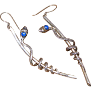 Vintage Sterling Silver Lapis Lazuli Cabochon Snake, Very Long Coiled Serpent on Staff Pierced Earrings