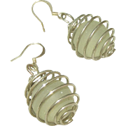 Sea Glass in Spiral Globes Vintage Pierced Earrings on Fish Hook Wires