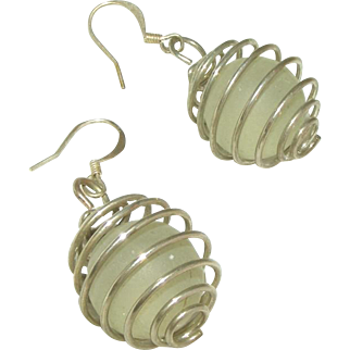 Sea Glass in Spiral Globes Vintage Pierced Earrings on Fish Hook Wires