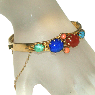 Semi-Precious Glass Stones Gold Filled/Plated Vintage Bangle Bracelet