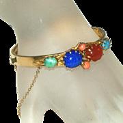 Semi-Precious Glass Stones Gold Filled/Plated Vintage Bangle Bracelet