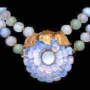 Agate, Jade or Adventurine, Rose Quartz, Moonstone & Opal Glass Vintage Sterling Button Co. Vintage Signed Necklace