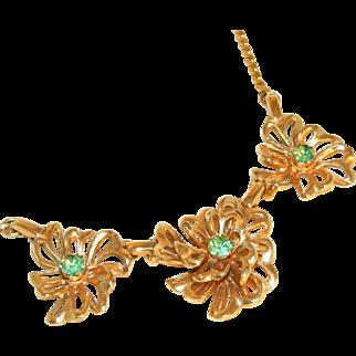 Exquiste Retro Modern Peridot Rhinestone Necklace Signed Lustern