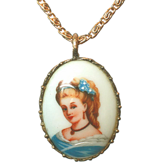 Vintage Limoges France Signed Hand Embellished Portrait Pendant on Chain Necklace