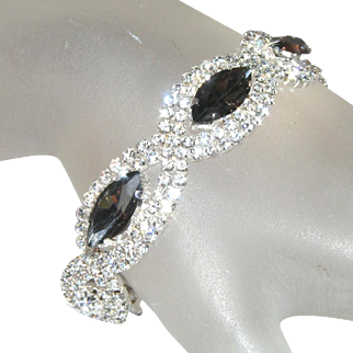 Smokey Grey Topaz & Hundreds Tiny Glass Prong Set Stones Vintage Brilliant Rhinestone Bracelet
