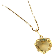 Smoky Topaz Heart Vintage Pendant on Gold Filled Chain
