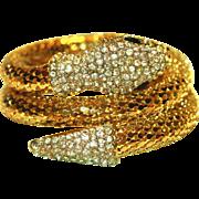 Coiled Serpent, Snake Vintage Rhinestone Wrap Bracelet