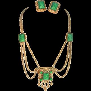 Etruscan Revival Brass & Peking Glass Vintage Festoon Necklace & Clip Earrings Set