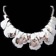 Solid Sterling Silver Vintage Hand Hammered Sculptured Fringe Necklace