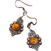 Sterling Silver & Amber Vintage Pierced Earrings