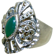Cut Work Sterling Silver Jadeite & Marcasite Vintage Art Deco Style Ring, Size 6 ½,Signed ND