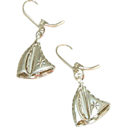 Sterling Silver Vintage Diamond Cut Sailboat Lever backs for Pierced Ears, Earrings