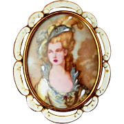 Large Porcelain Portrait Victorian Lady Thomas L Mott Signed TLM Made in England Vintage Pin, Pendant