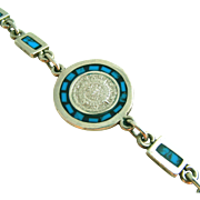 Sterling Silver & Turquoise Mexican Calendar Vintage TAXCO Bracelet, Signed, Heavy 7 Grams