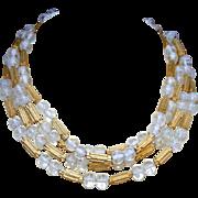 Trifari Vintage Art Glass Swirled Beads & Matte Gold Separator Beads