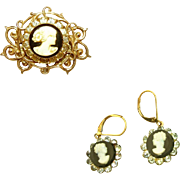 Plastic Vintage Cameo Set, Pin and Pierced Earrings